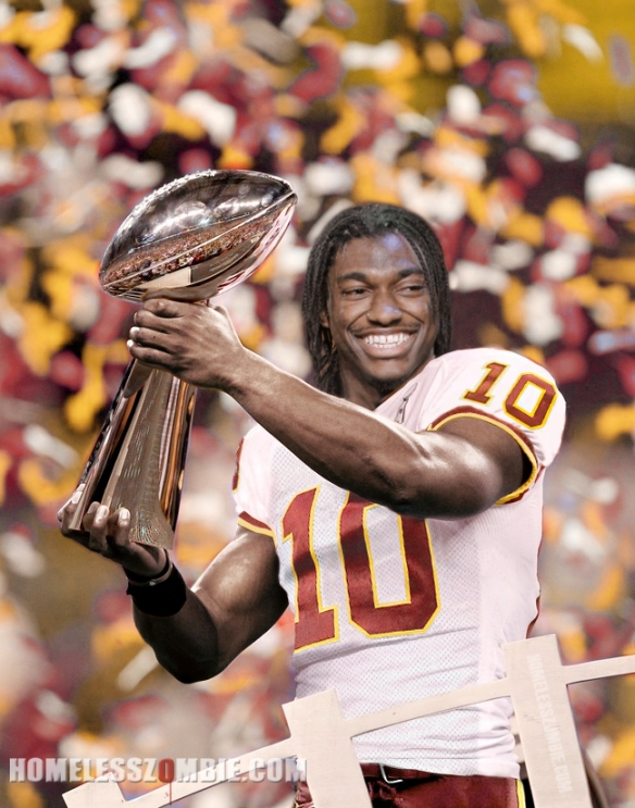 RGIII Hoisting the Lombardi for the Redskins